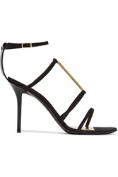 Emilio Pucci Embellished Suede Sandals Black