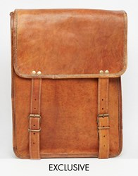 Reclaimed Vintage Tall Leather Messenger Bag Tan