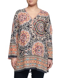 Johnny Was Multi Print V Neck Blouse Multicolor