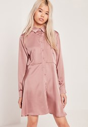 Missguided Satin Skater Shirt Dress Pink Beige