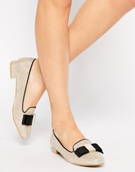 Carvela Lacey Gold Bow Detail Flat Shoes