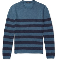 Gucci Striped Mohair And Silk Blend Sweater Blue