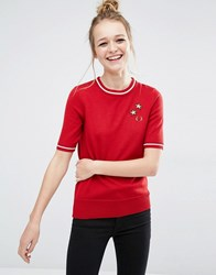 Fred Perry Bella Freud Star Embroidered Knit Top Red