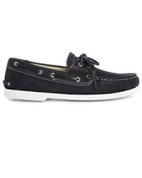M.Studio Navy Luke Grained Nubuck Boat Shoes Blue