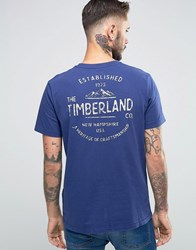 Timberland Kennebec T Shirt Mountain With Logo Back Print Blue Print