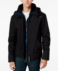 Superdry Men's Pop Zip Hood Wind Cheater Jacket Black Denby Blue