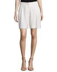 Halston Mid Rise Relaxed Shorts Cream Ivory