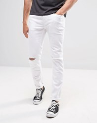 United Colors Of Benetton White Skinny Fit Jeans With Rips White