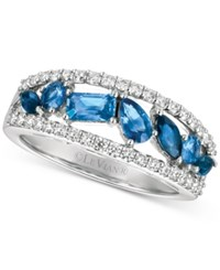 Le Vian Sapphire 1 Ct. T.W. And Diamond 3 8 Ct. T.W. Ring In 14K White Gold