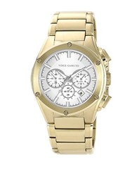 Vince Camuto Mens Goldtone Bracelet Watch With Silver Tone Accents