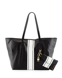 Cynthia Rowley Hayden Striped Leather Tote Bag Black White