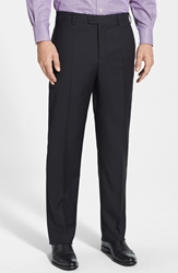 Zanella 'Devon' Flat Front Wool Trousers Black