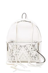Rebecca Minkoff Small Lola Leather Studded Backpack With Removable Wristlet White