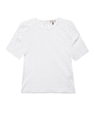 Rebecca Taylor Diamond Eyelet Broderie Anglaise T Shirt
