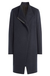 Brunello Cucinelli Wool Coat With Bead Embellished Trim Blue