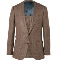 Kingsman Brown Harry Slim Fit Silk Linen And Wool Blend Blazer Brown