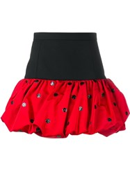 Saint Laurent Polka Dot Mini Bubble Skirt Red