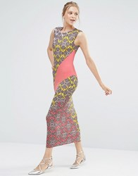 Oasis Sintra Print Sheath Midi Dress Multi