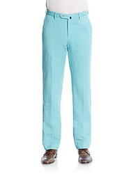 Incotex Ben Linen And Cotton Straight Leg Trousers Turquoise