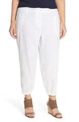 Plus Size Women's Eileen Fisher Organic Linen Cargo Ankle Pants White