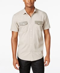 Inc International Concepts Men's Osric Multi Pocket Short Sleeve Shirt Only At Macy's Tiramisu