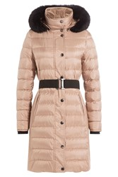 Burberry London Quilted Down Coat With Fox Fur Collar Beige