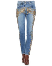 Roberto Cavalli Metallic Applique Fitted Boyfriend Jeans Denim And Gold