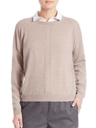 Peserico Embellished Virgin Wool Silk And Cashmere Sweater Taupe