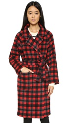 Ganni State Street Coat Pompeian Red Check
