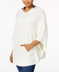 G.H. Bass And Co. Hooded Sweater Poncho Ivory