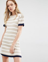 Daisy Street Knitted T Shirt Dress In Stripe Nude Beige
