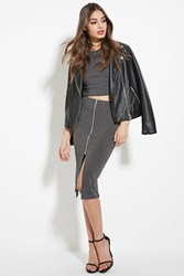 Forever 21 Zip Front Pencil Skirt Charcoal