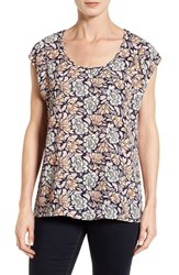 Pleione Women's Cap Sleeve Blouse Navy Floral Wallpaper