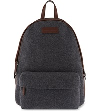 Brunello Cucinelli Leather And Flannel Backpack Grey