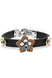 Fendi Appliqued Silver And Gold Tone And Leather Bracelet Black