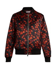 Givenchy Floral Print Cotton Blend Satin Bomber Jacket Red Multi