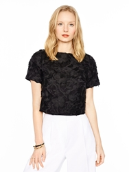 Kate Spade Madison Ave. Colle Ction Embroidered Lummi Top Black