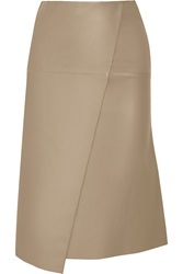 Joseph Charlene Wrap Effect Leather Midi Skirt