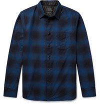 Rag And Bone Beach Checked Cotton Twill Shirt Royal Blue