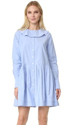 Sea Collar Button Down Dress Blue