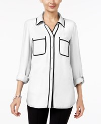 Ny Collection Contrast Trim Utility Shirt White Black Tip