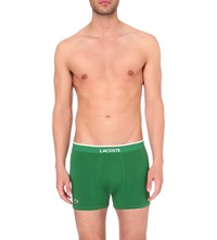 Lacoste Branded Pack Of Three Stretch Cotton Trunks White Green