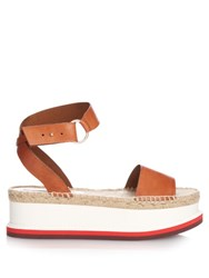 Stella Mccartney Raffia Flatform Sandals Tan