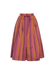 House Of Holland Chevron Striped Jacquard Midi Skirt