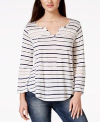 American Rag Striped Lace Trim Pullover Top Only At Macy's New Indigo Stripe