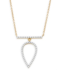 Macy's Diamond Pear Pendant Necklace In 14K Gold 1 7 Ct. T.W.