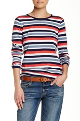 Minnie Rose Loose And Easy Striped Crew Sweater Multi