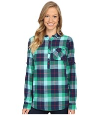 Columbia Coral Springs Ii Woven Long Sleeve Shirt Collegiate Navy Plaid Women's Long Sleeve Button Up White
