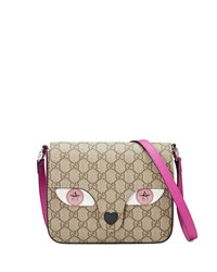Gucci Girls' Gg Supreme Leather Trim Cat Messenger Bag Beige Rosette New Rosette