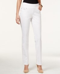 Jag Petite Peri Straight Leg Pull On White Wash Jeans